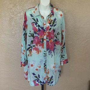 Soft Surroundings Boho Modern Floral Tunic Top L